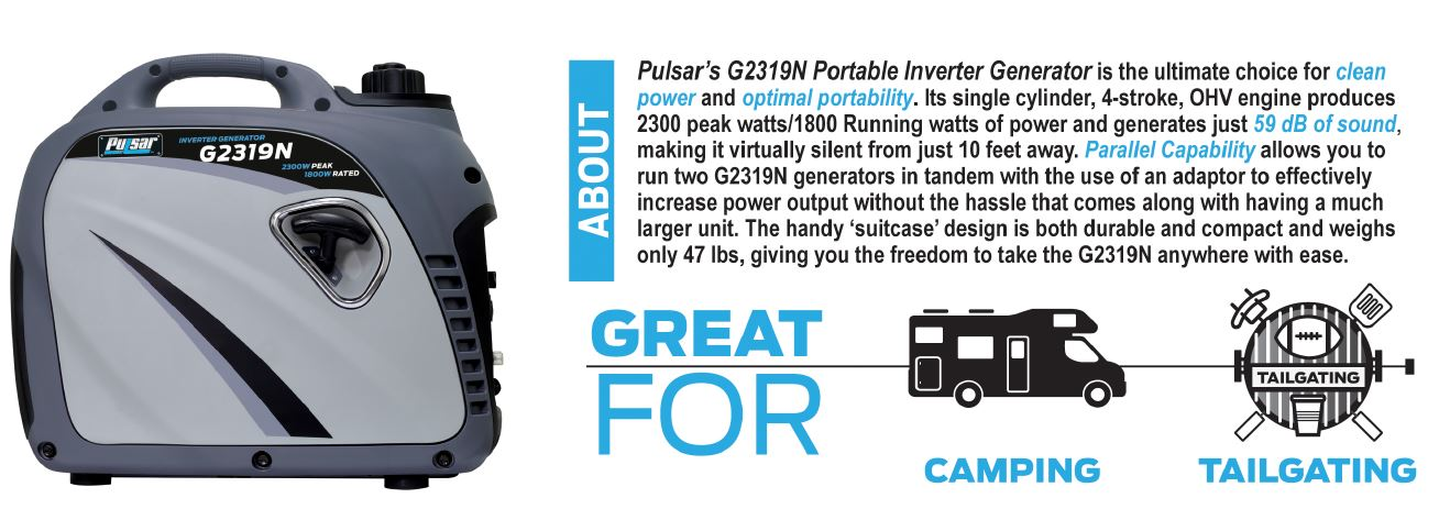 Pulsar PG2300iS 2,300W Rated Watts Closed Frame Diesel-Powered Generator