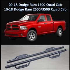 For 2010-2018 Ram 1500 2500 3500 Crew Cab Texture Black Side Step Bar Drop Step